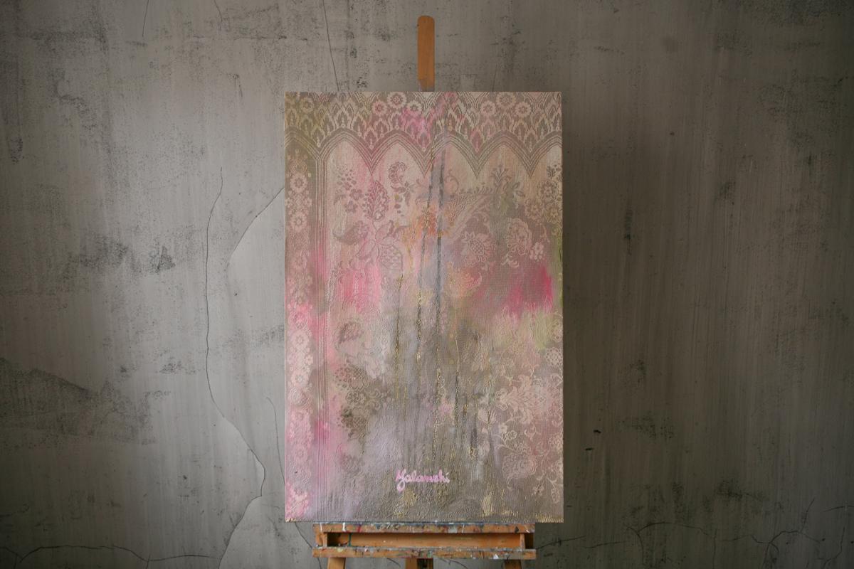 Openwork pink 70-110cm, Mixed technique, canvas, oil, 2015 Yalanzhi