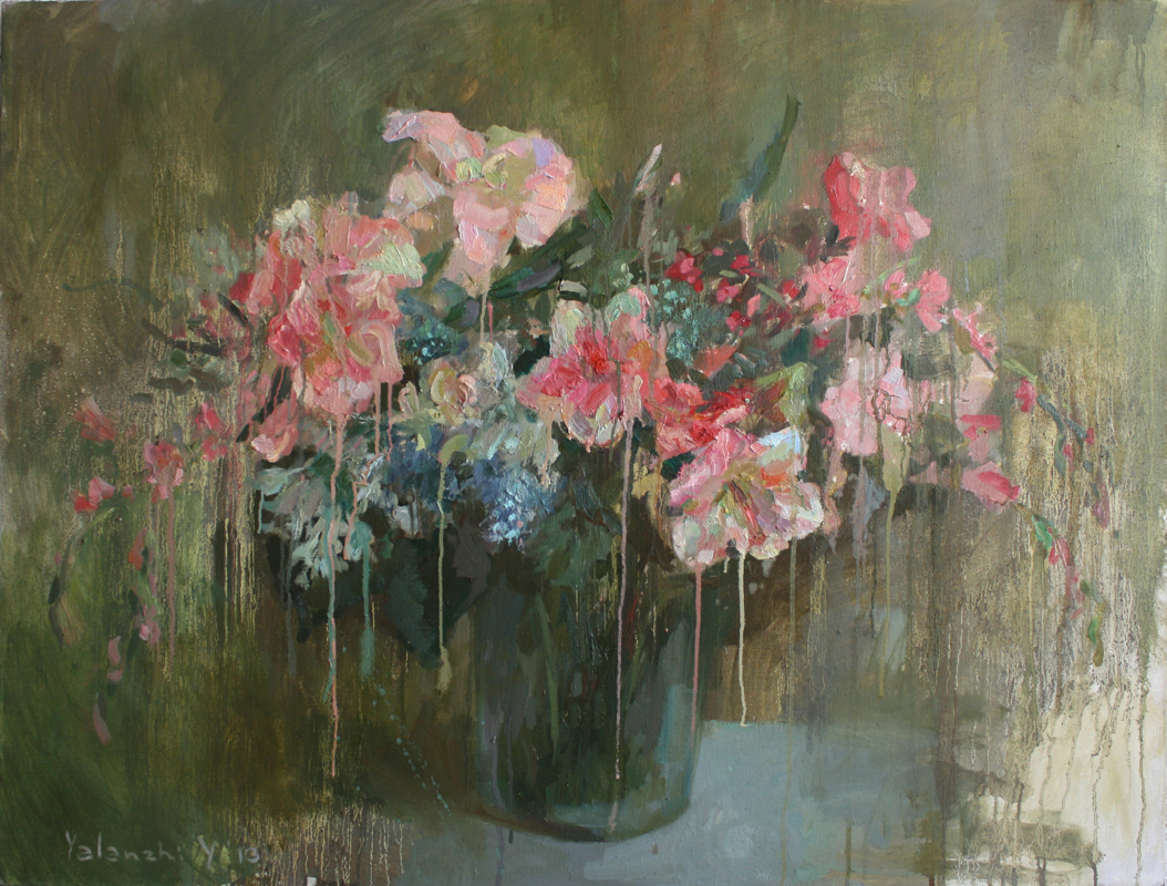 Flowers on a green background, 90-120cm
