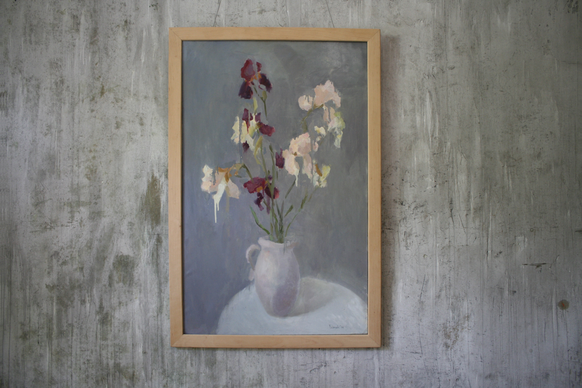 Irises on a light background 110-70cm, canvas, oil, painting, 2014 Yalanzhi Julia