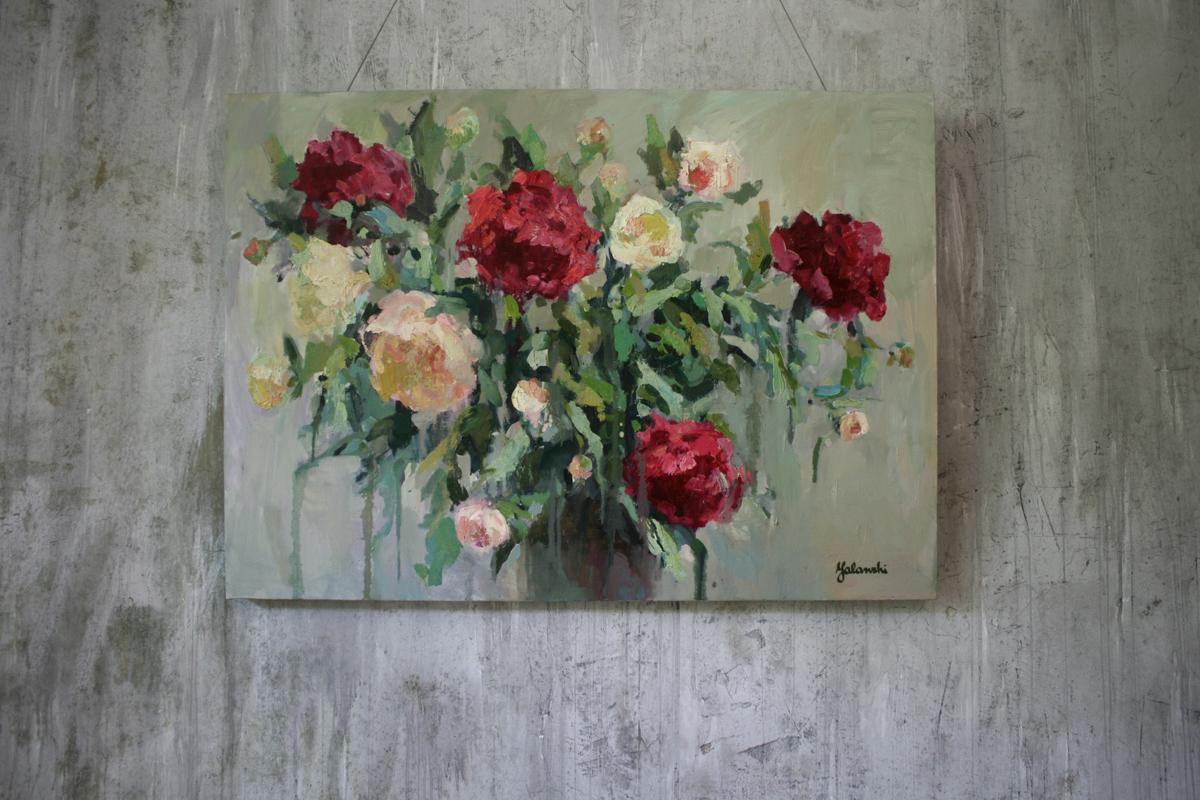 Peonies 70-98cm, canvas, oil, painting, 2016 Yalanzhi Julia