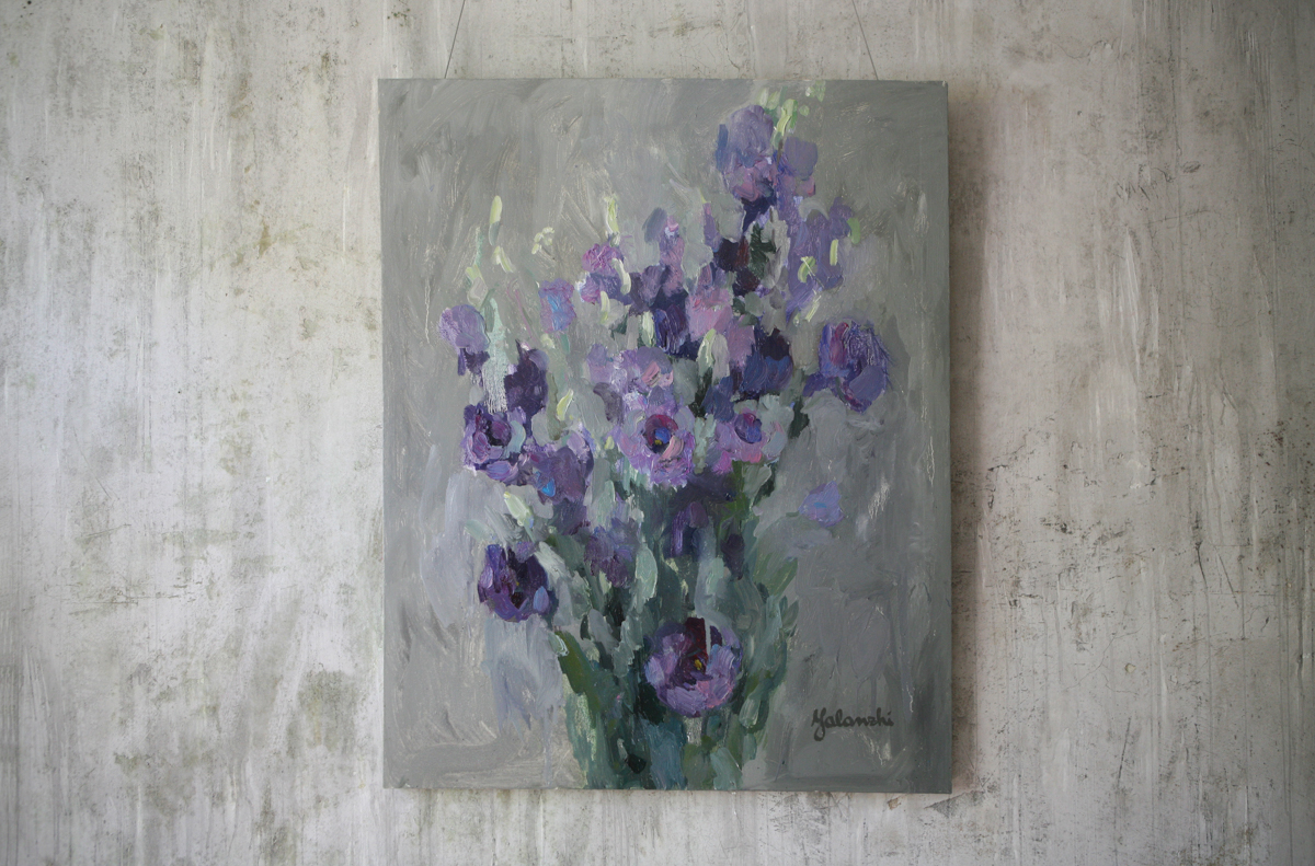 Purple eustoma 100-80cm, canvas, oil, painting, 2016 Yalanzhi Julia