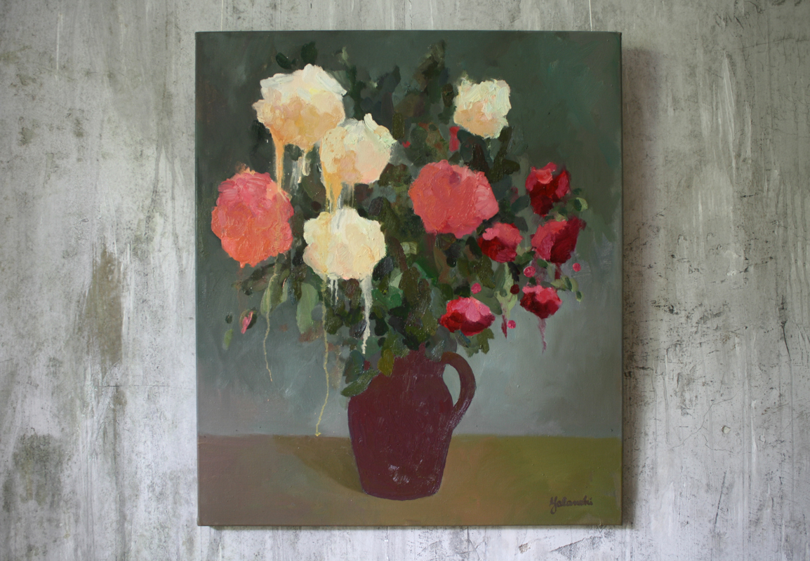 Roses from the Garden 80-70cm, canvas, oil, painting, 2016 Yalanzhi Julia