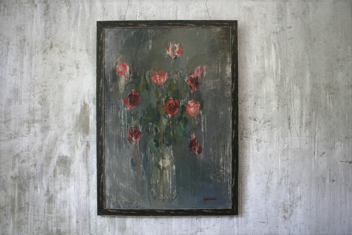 Roses on a grey background 100-70cm, canvas, oil, painting, 2013 Yalanzhi Julia