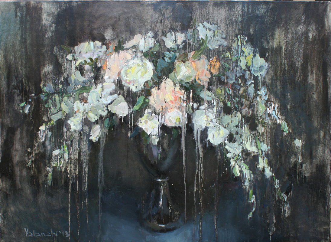 flowers on a black background 90-120cm, canvas, oil painting, 2013 Yalanzhi Julia
